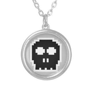 Retro Black 8-bit Skull Round Pendant Necklace