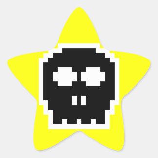 Retro Black 8-bit Skull Star Sticker