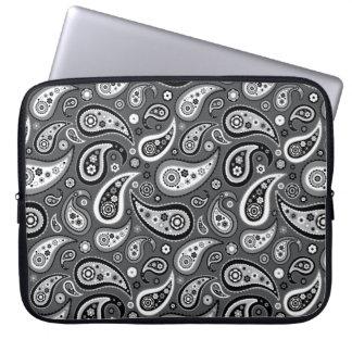 Retro Black and Gray Paisley Pattern Computer Sleeve