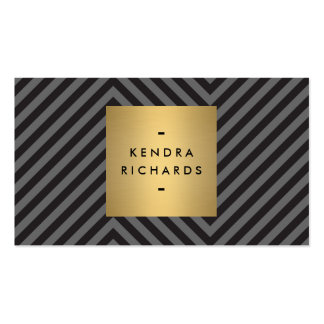 Retro Black and Gray Pattern Gold Name Logo Business Card