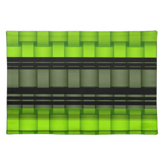 Retro black and green graphic design cloth placemat