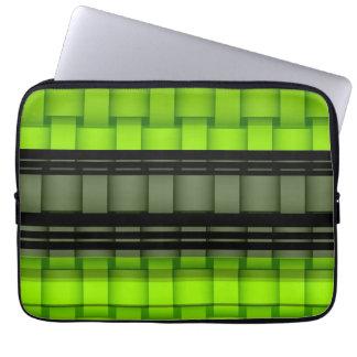 Retro black and green stripes art graphic design laptop sleeve