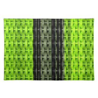 Retro black and green wicker graphic design cloth placemat