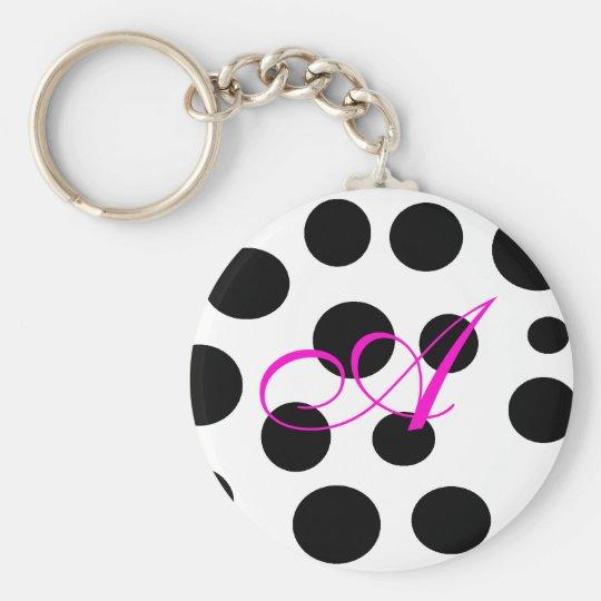 Retro Black and Pink  Monogram Keychain