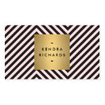 Retro Black and Pink Pattern Gold Name Logo Double-Sided Standard Business Cards (Pack Of 100)