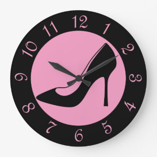 Retro Black And Pink Shoe Large Clock