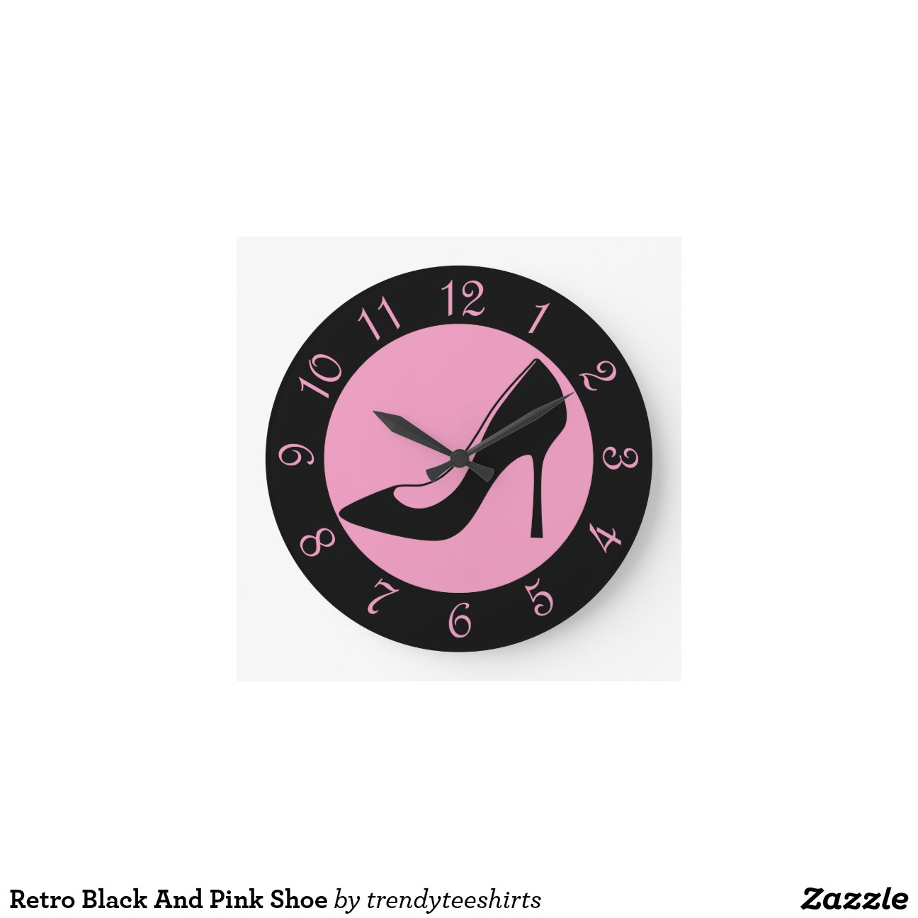 retro black and pink shoe round wall clocks zazzle