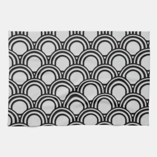 Retro Black and White Art Deco Abstract Pattern Kitchen Towel