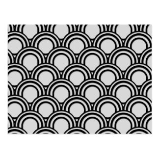 Retro Black and White Art Deco Abstract Pattern Postcard
