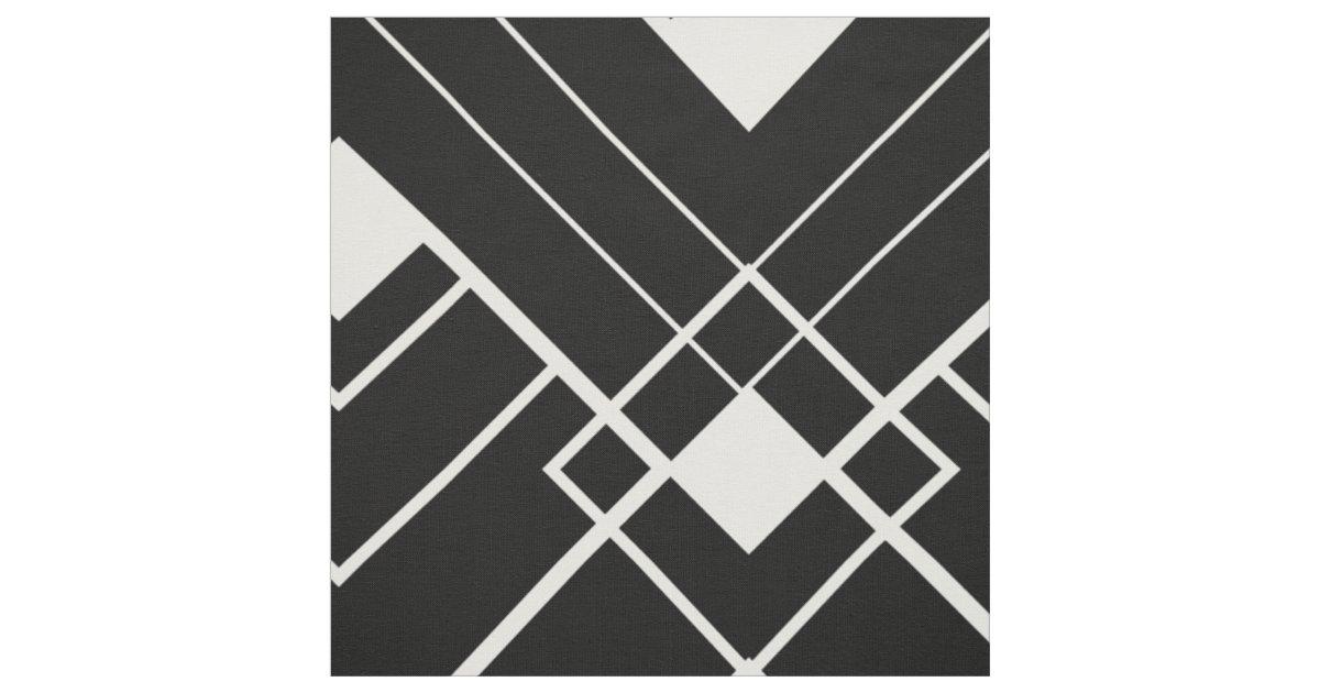 Retro Black And White Art Deco Pattern Fabric Zazzle Com