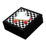 Retro Black and White Checked Roller Skate Trinket Boxes