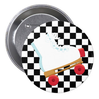 Retro Black and White Checked Rollerskate Pin