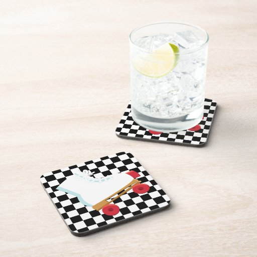 Retro Black and White Checked Rollerskate Drink Coaster