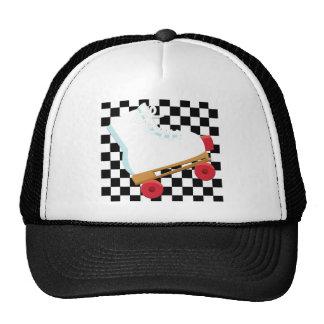Retro Black and White Checked Rollerskate Trucker Hat