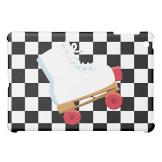 Retro Black and White Checked Rollerskate iPad Mini Cover