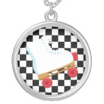 Retro Black and White Checked Rollerskate Pendant