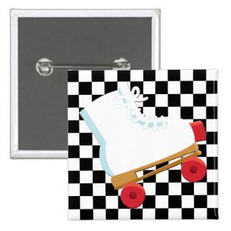 Retro Black and White Checked Rollerskate Pinback Button
