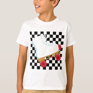 Retro Black and White Checked Rollerskate T-Shirt