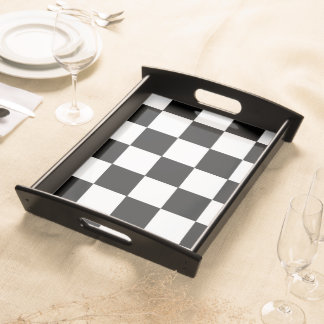 Retro Black and White Checker Pattern Serving Tray