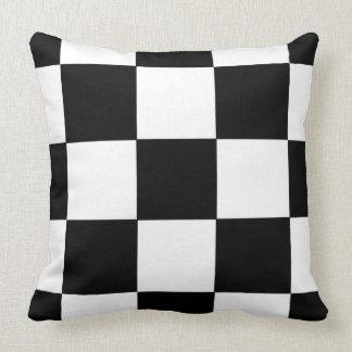 Retro Black and White Checkerboard Pattern Pillow