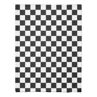 Retro Black And White Checkered Pattern Duvet Cover at Zazzle