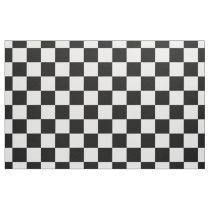 Retro Black and White Checkered Pattern Fabric