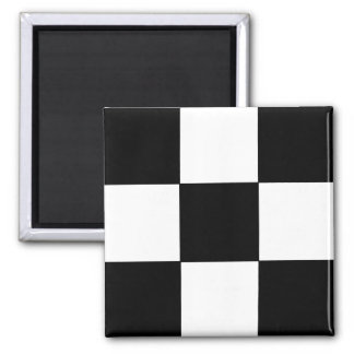 Retro Black and White Checkered Pattern Magnet