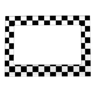 Retro Black and White Checkered Pattern Magnetic Photo Frame