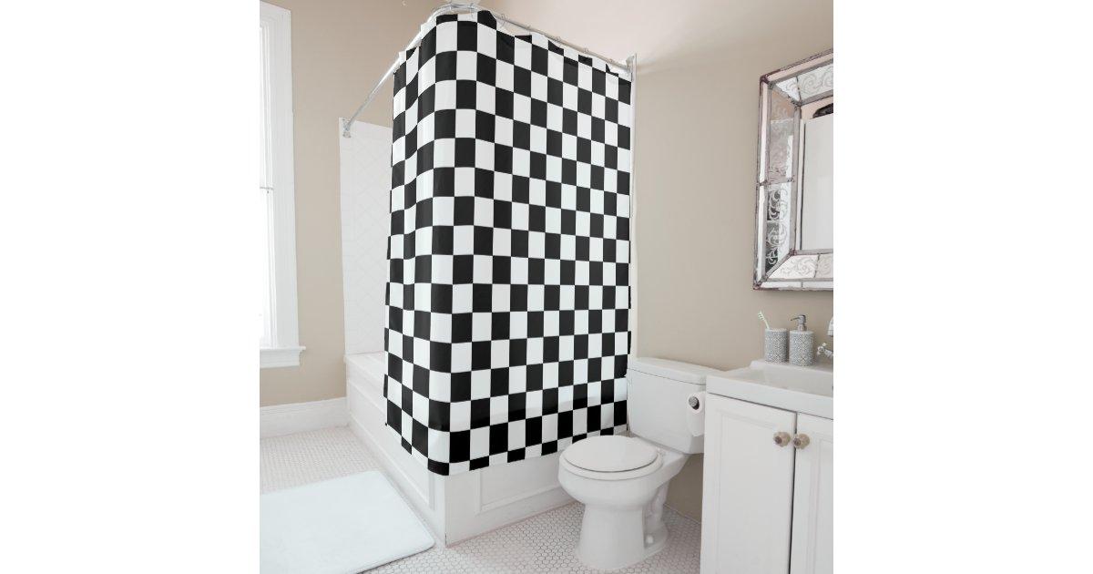 Retro Black And White Checkered Pattern Shower Curtain ...