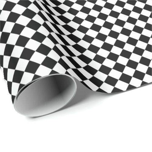 Retro Black and White Checkered Pattern Wrapping Paper