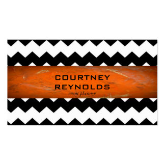Retro Black and White Chevron Pattern Terracotta Double-Sided Standard Business Cards (Pack Of 100)