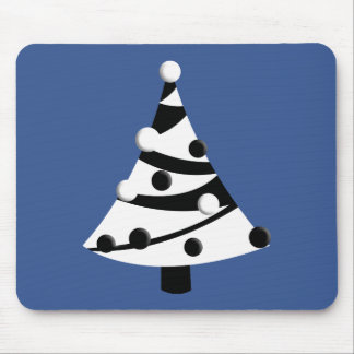 Retro Black and White Christmas Tree Mouse Pads