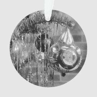 Retro Black and White Christmas Tree Photograph Ornament