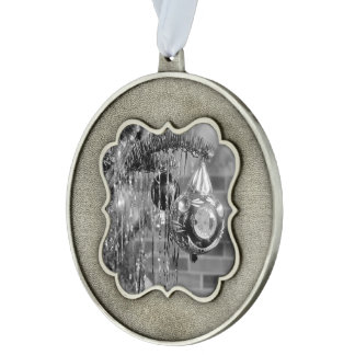 Retro Black and White Christmas Tree Photograph Pewter Ornament