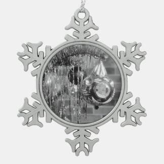 Retro Black and White Christmas Tree Photograph Snowflake Pewter Christmas Ornament