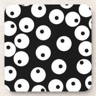 Retro black and white circle design. beverage coaster
