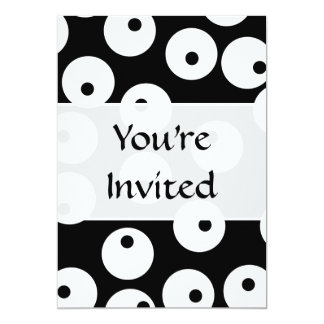 Retro black and white circle design. card