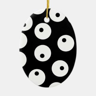 Retro black and white circle design. ceramic ornament