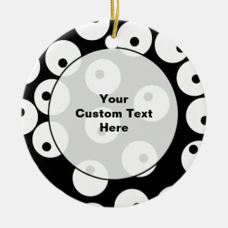 Retro black and white circle design. Double-Sided ceramic round christmas ornament
