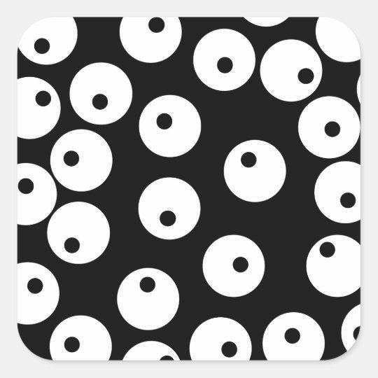 Retro black and white circle design. square sticker