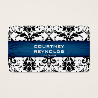 Retro Black and White Damask Pattern Blues Party Business Card