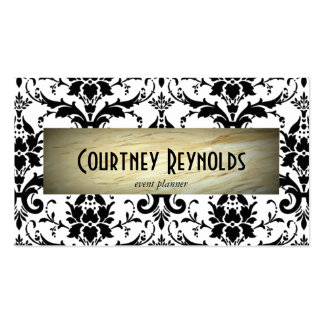 Retro Black and White Damask Pattern Marble Business Card