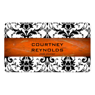 Retro Black and White Damask Pattern Terracotta Business Card
