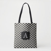 Retro Black and White Herringbone Pattern Tote Bag