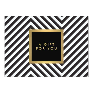 Retro Black and White Pattern Glam Gold Gift Cert 4.5x6.25 Paper Invitation Card