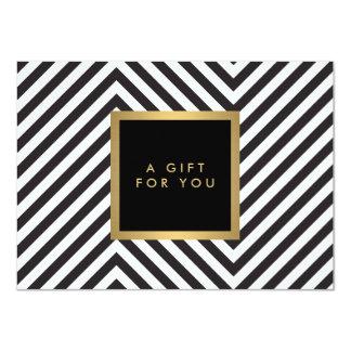 Retro Black and White Pattern Glam Gold Gift Cert Card