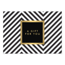Retro Black and White Pattern Glam Gold Gift Cert Invitation