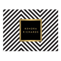 Retro Black and White Pattern Glam Gold Name Logo Postcard