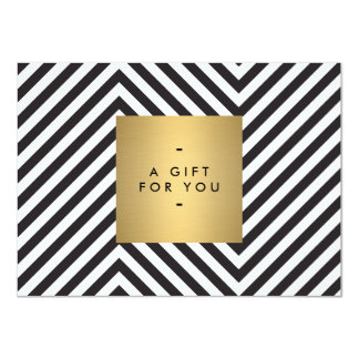Retro Black and White Pattern Gold Name Gift Cert Card