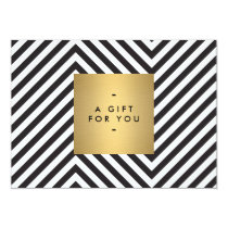 Retro Black and White Pattern Gold Name Gift Cert Invitation